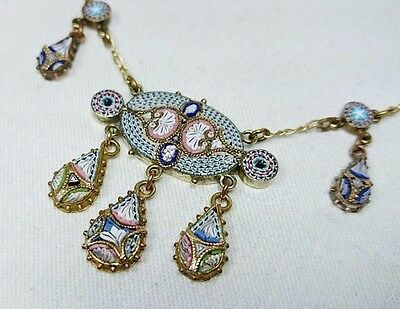 Micro Mosaic Festoon Drop Necklace, Made in Italy