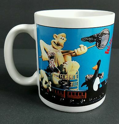Vintage 1989 Wallace and Gromit Coffee Mug Cup The Wrong Trousers Penguin Train