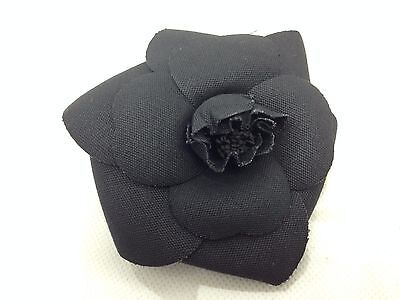Auth CHANEL Black FLOWER PIN BROOCH CAMELIA Vintage 6D130210#