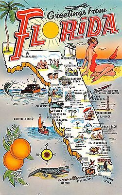Map postcard Greetings from Florida Pin-Up Girl chrome large letter