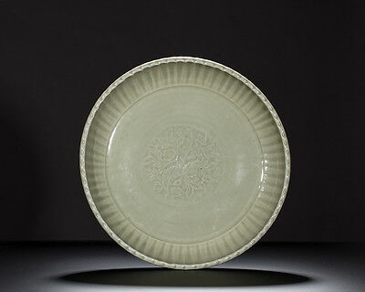 Rare early Ming Longquan large chrysanthemum dish perfect conditions