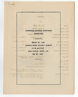 McCloud River Railroad ICC Accident Report May 27, 1952 - Bartle, California