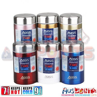 OASIS Insulated  Stainless Steel Food Flask Jar 450ml Double Wall Hot Cold Stain