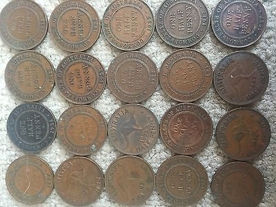 Australia half penny coins lot of 19 - full date list