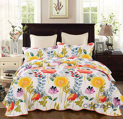 Queen 100% Cotton Quilted Flower Coverlet/BedSpreads 3Pc Set