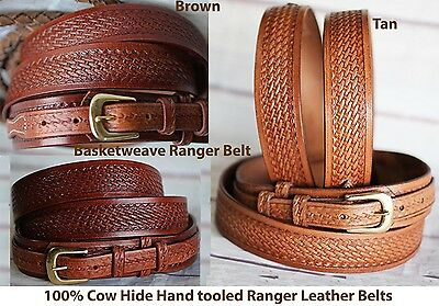 PRORIDER Men's Western RANGER BELT Tooled Leather Basket Weave 26Ranger