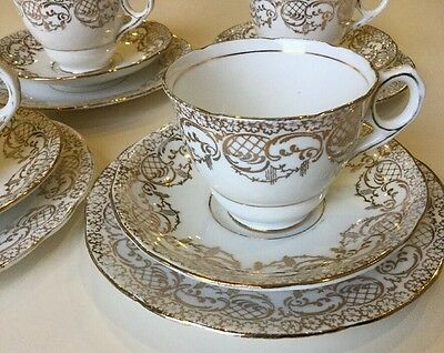 Vintage Royal Stafford Tea Set White Gold 8316 Four Trios Cups Saucers Plates