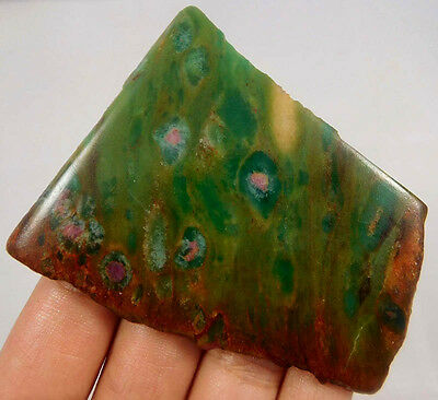 185 Cts. 100%  NATURAL RUBY ZOISITE SLICE ROUGH LOOSE CAB GEMSTONE (R14)