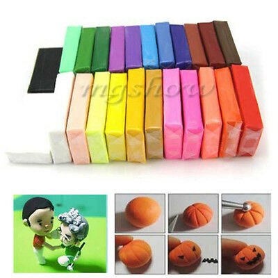 24 Colors Oven Bake Polymer Clay Block Modelling Moulding Sculpey Fimo Soft Toy