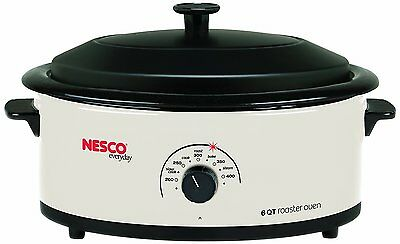 Nesco 4816-14 Roaster Oven with Porcelain Cookwell, 6-Quart, White