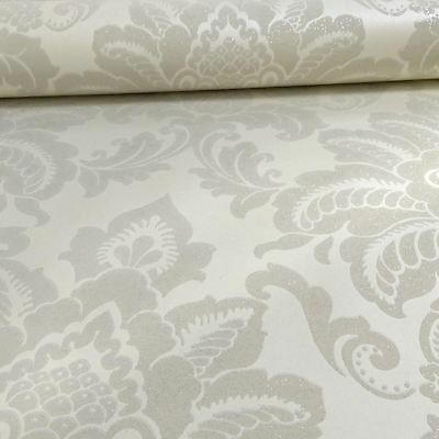 Precious Metals Glisten Damask Wallpaper - Pearl - Arthouse 673202