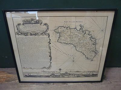 Antique map of Minorca in frame 62x52cm, some foxing. Balearic Mediterranean B60