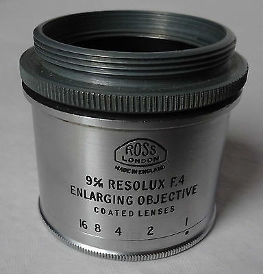 Ross Resolux 9cm F4 Enlarger lens. 39mm screw in fit with 44mm adaptor