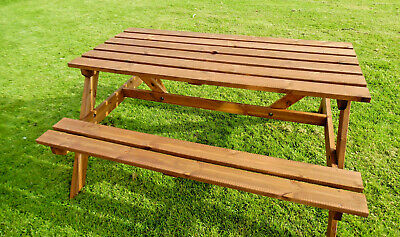 **Wooden Picnic Table Bench Pressure Treated 5ft Picnic for Home Patio Decking**