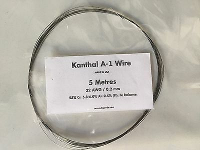 KANTHAL A1 RESISTANCE WIRE 32 AWG / 0.2 mm - 5 Metres -