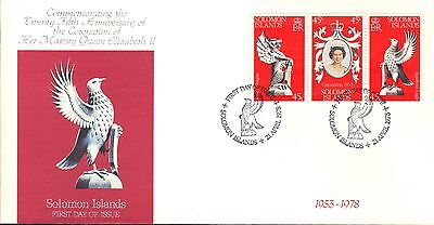 SOLOMON ISLANDS FIRST DAY COVER 1978 25th ANNIV OF THE CORONATION OF QE II