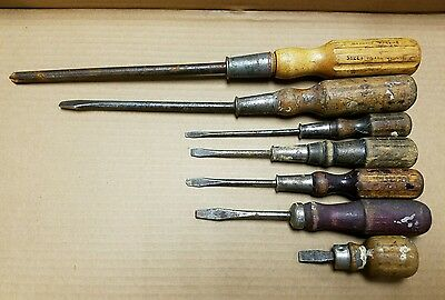 Antique EARLY Vintage Screwdrivers - WOOD HANDLE - Lot of 7