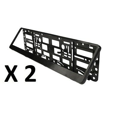 2x BLACK ABS NUMBER PLATE SURROUNDS - REGISTRATION PLATE HOLDERS
