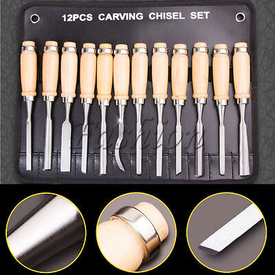 Wood Carving Hand Chisel Tools Professional Woodworking Gouges Steel 12pcs/set