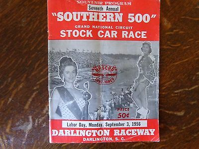 "1956 + DARLINGTON RACEWAY +  Official Program + ""SOUTHERN 500"" NASCAR"