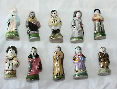 French Villagers Santons Porcelain Epiphany Feves Tiny Figures  10 pieces