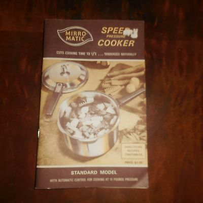Mirro-Matic Speed Pressure Cooker Directions Recipes Timetables Booklet  #CB275