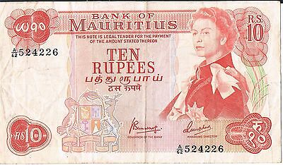 MAURITIUS BANKNOTE 10 P31c nd 1967 VF