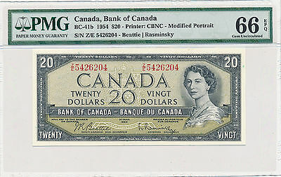 Bank of Canada Modified 20 Dollars 1954 Z/E BC-41b - PMG 66 EPQ