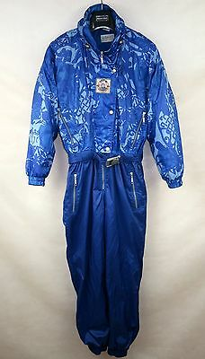 ETIREL VINTAGE RETRO WOMENS SKI SUIT ONE PIECE size L UK-16 BLUE ALL IN ONE