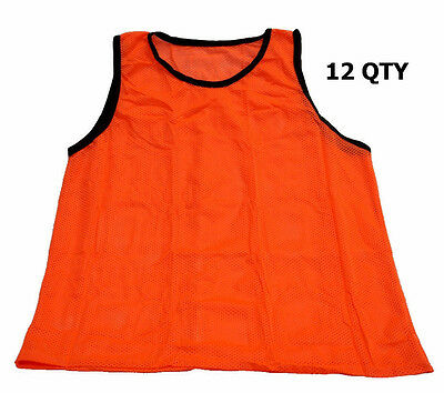 Scrimmage Training Vest Soccer Bibs Set of 12  Football MENS Size ORANGE Color