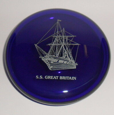 Bristol Blue Glass S.s. Great Britain Paperweight