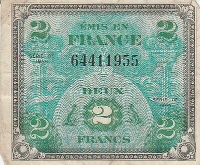 France Military Currency 2 Francs 1944