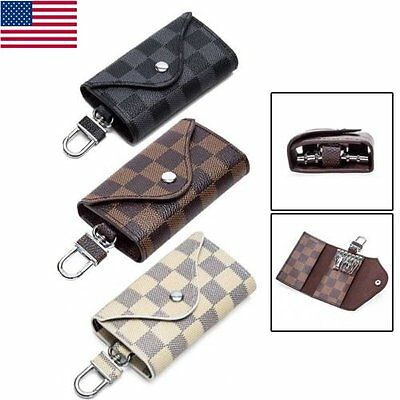 PU Leather Plaid Key chain Ring Holder Case Bag Key Purse Wallet Pouch 3 Folds