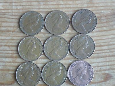 Vintage New Penny 1P Coin Set (9 coins) - 1971-1981. (NOT 1975)
