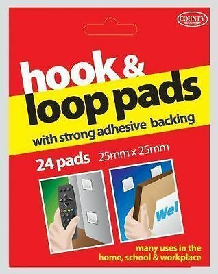 Pack Of 24 Hook And Loop Pads (25X25Mm) Adhesive Backing Velcro Square Stickers
