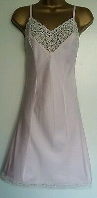 Vtg 60s St Michael Poly Satin Lacy A-Line Pink Slip Dress Petticoat Bust 36