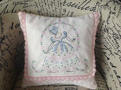 "Vintage Chenille  & Vintage Linen Pillow 16"" Embroidered Southern Belle"