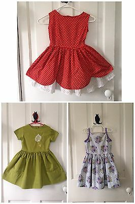 Vintage 1950s 1960s Girl's Dress Lot Floral Red Green Purple 3T 4T