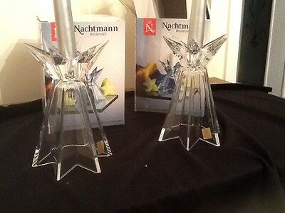 NACHTMANN matching pair lead crystal candleholders perfect condition with boxes