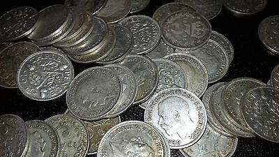 3 pence peices x 50. Pre 1946. Sterling Silver. All coins in great condition,