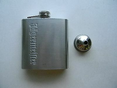 Jagermeister Brushed Stainless Steel 6 oz Flask with Funnel - New
