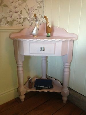 Solid Pine Antique Style Refurbished Corner Stand Unit Table Washstand