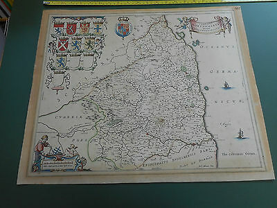 100% Original Large Northumberland Map By J Blaeu C1646 Hand Coloured