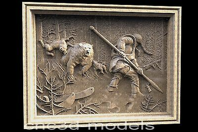 3D Model STL for CNC Router Carving Artcam Aspire Bear Hunting Hunt Hunter 048