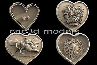 3D Model STL for CNC Router Engraver Carving Artcam Aspire Heart Love Pano 051