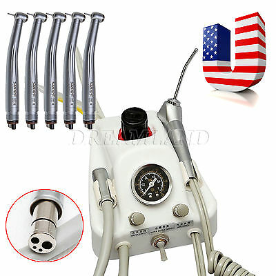 4 Holes Dental Portable Turbine Delivery Unit & 5X High Speed Handpiece F/NSK US