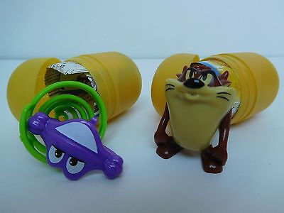 2 x KINDER SURPRISE TOY EGGS ~ TAZMANIAN DEVIL looney tunes + spiral toy