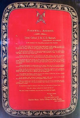 15th Lancers Commanding Officer's Gold Bullion Embroidered Farewell Address