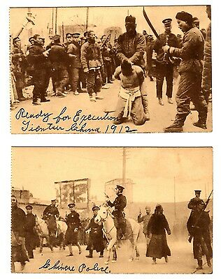 Lot Of 2 Chinese Police 1912 Postcards Excellent Condition