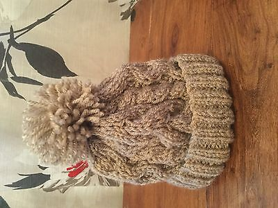 Hand Knitted Babies  Oatmeal Aran Cable Hat 3-6Mn